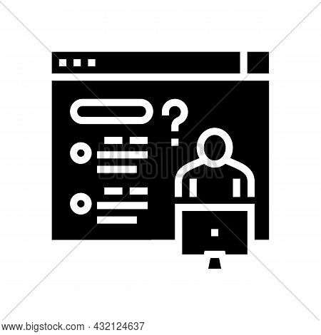 Asking Question For Solve Problem Glyph Icon Vector. Asking Question For Solve Problem Sign. Isolate