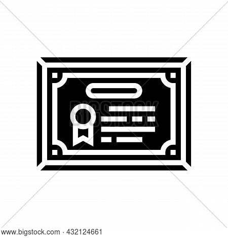 Diploma Or Educational Certificate Glyph Icon Vector. Diploma Or Educational Certificate Sign. Isola