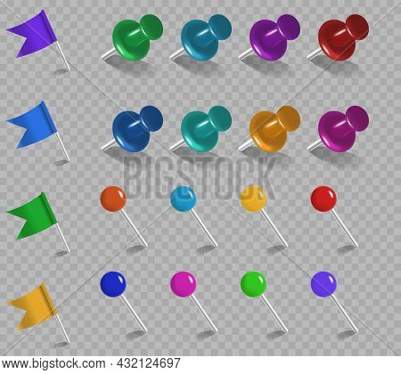 Pins Flags Tacks Set. Realistic Collection Of Needles For Attaching Posters. Design Elements For Web