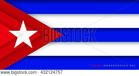 Cuba Paper Cut Flag Design. Cuba Independence Day Design. Good Template For Cuba National Day Or Ind