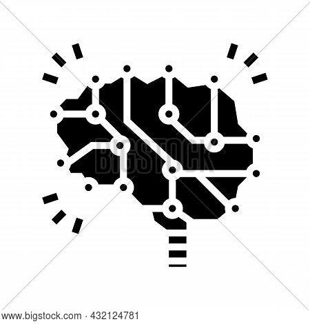 Neuron Knowledge Brain Glyph Icon Vector. Neuron Knowledge Brain Sign. Isolated Contour Symbol Black