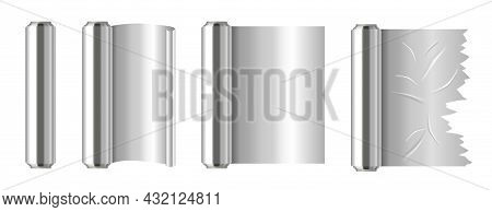Set Of Roll Of Silver Aluminium Foil. Realistic Stickers With Cooking Accessories. Foil For Baking.