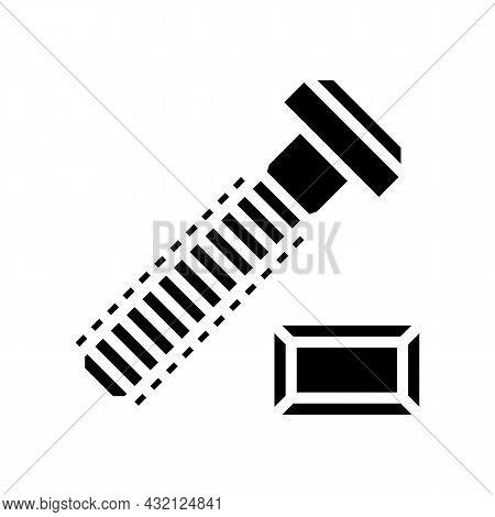 T-slot Bolt Glyph Icon Vector. T-slot Bolt Sign. Isolated Contour Symbol Black Illustration