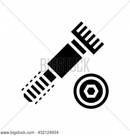 Shoulder Screw Glyph Icon Vector. Shoulder Screw Sign. Isolated Contour Symbol Black Illustration