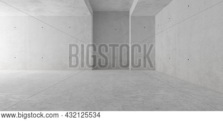 Abstract Empty, Modern Concrete Room With Indirect Lighting From Left Side Wall, Recess Element And