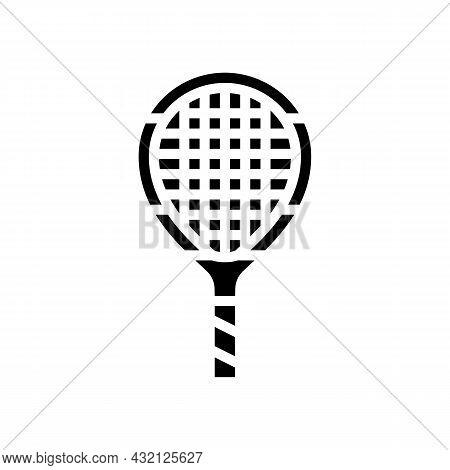 Junior Tennis Racquet Glyph Icon Vector. Junior Tennis Racquet Sign. Isolated Contour Symbol Black I