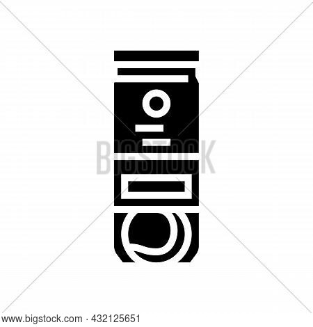 Balls Package Tennis Glyph Icon Vector. Balls Package Tennis Sign. Isolated Contour Symbol Black Ill