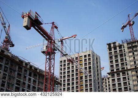 Moscow Russia - August 2021: Construction Of A Modern Residential Complex. High-rise Construction Cr