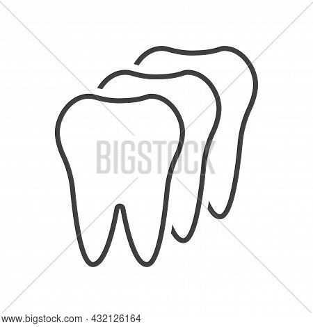 Teeth In A Row Icon. A Simple Line Drawing Of Three Teeth In A Row One After The Other. Isolated Vec
