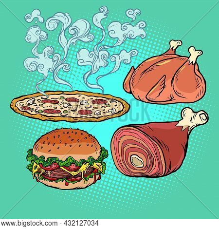 Delicious Food Burger Pizza Meat Knuckle Fried Poultry