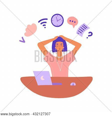 Busy Worker Concept. A Woman Sits At A Desk And Performs Several Tasks At The Same Time. Multitaskin