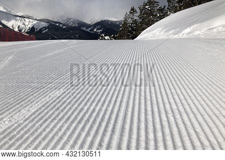 Ski Slope Prepared For Skiing With A Snowcat. Velvet Shape Of Groomed Slope. Best Slope For Skiing A