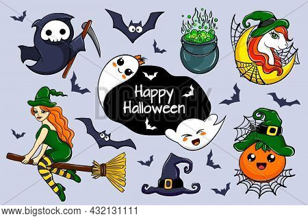 Set Of Cartoon Characters For Halloween. Cute Ghosts, Bats, Witch, Pumpkin, Little Death And Unicorn