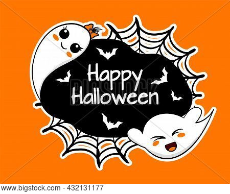 Happy Halloween Banner With Cute Funny Ghosts And Bats, Vector Illustration