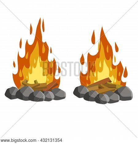 Red Campfire. Orange Flame. Tourist Bonfire. Element Of A Hike. Heat And Hot Object. Fire Lined With