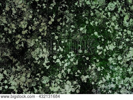Green Brown Olive Vintage Background With Stains, Splashes And Dots. Watercolor Texture With Blur An