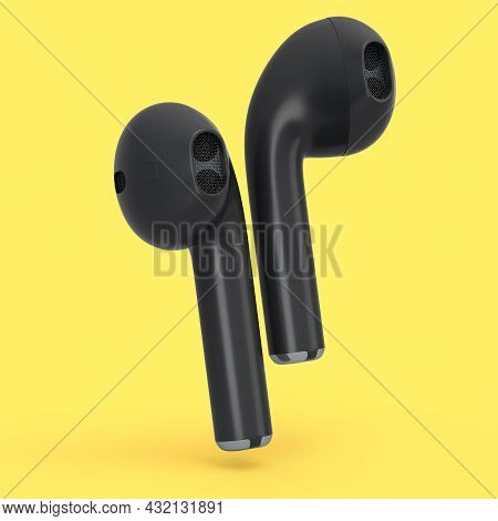 Wireless Bluetooth Black Headphones Isolated On Yellow Background. 3d Rendering Of Accessories For L