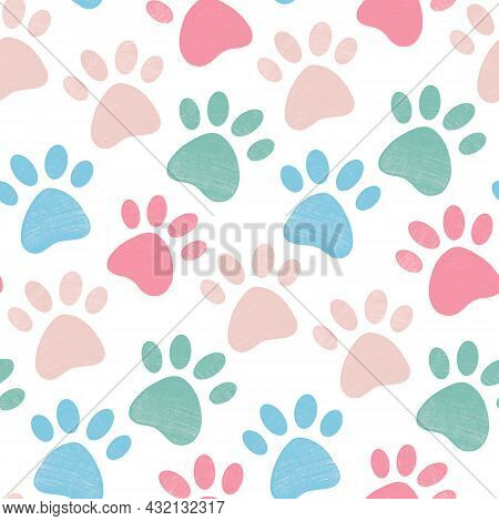 Cute Bright Seamless Pattern With Crayon Pencil Textured Pet Paw In Pastel Colors. Vector Background