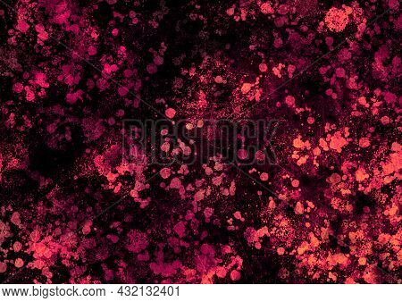 Pink Orange Magenta Vintage Background With Spots, Splashes And Dots. Watercolor Texture With Blur A