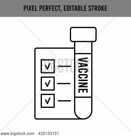 Approval On A Sheet Of Paper Icon For Web Design. Check Mark Vector Icon. Outline Symbol. List Of Ap