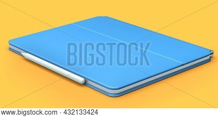 Computer Tablet With Blue Cover Case And Pencil Isolated On Orange Background. 3d Rendering Concept