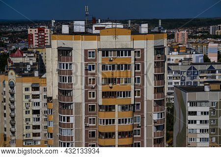 Residential Neighborhoods Of A Russian City. Typical House Building. Residential Areas With High-ris