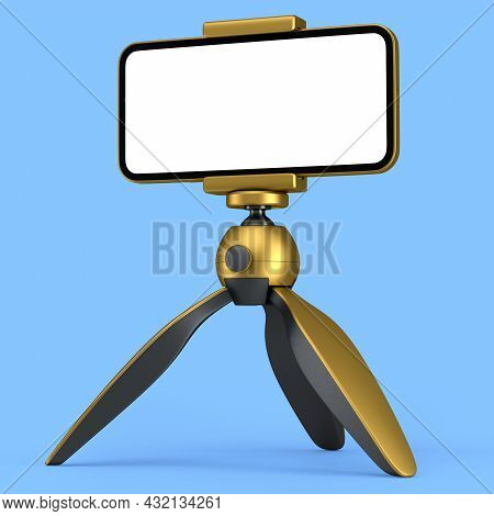 Realistic Smartphone With Blank White Screen On Gold Tripod Isolated On Blue Background. 3d Renderin