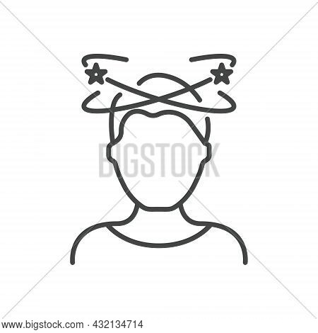 Dizziness, Migraine, Headache, Distracted Head Linear Pictogram. Front View. Man Feel Dizzy Line Ico