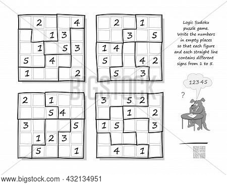 Logic Sudoku Puzzle Game. Write The Numbers In Empty Places So That Each Figure And Each Straight Li