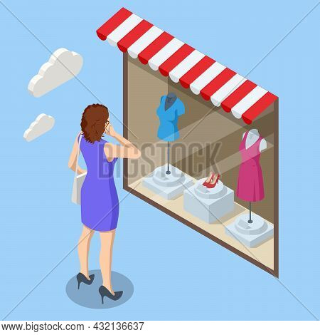 Isometric Woman Looks At The Clothes Shop Window. Consumer Shopping In Apparel Boutique. Retail And