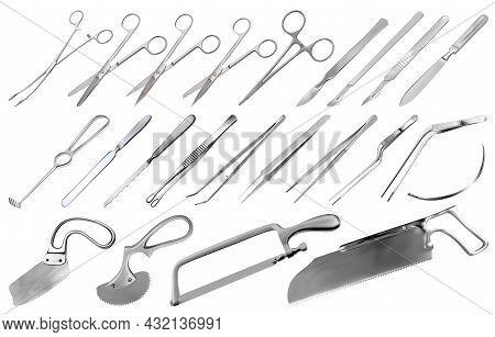 Surgical Instruments Set. Tweezers, Scalpels, Liston S Knife, Clamp, Scissors, Folkman Hook, Meyer F