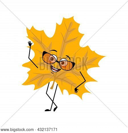 Maple Leaf Character With Glasses And Joyful Emotions, Smile Face, Happy Eyes, Arms And Legs. Cheerf