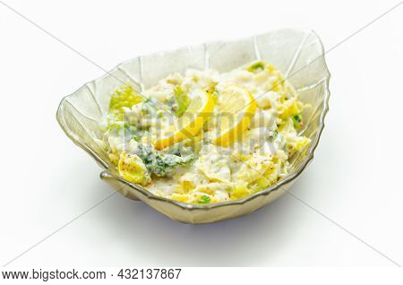 Delicious And Fresh Salad With Savoy Cabbage And Spring Greens In A Smooth Creamy Sauce, Healthy Die