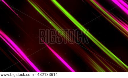Countless Lines Of Red, Yellow, And Pink Colors Shining On A Dark Red Background. Motion. Shimmering