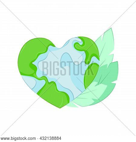 The Planet In The Shape Of A Heart. A Call To Protect Nature. Concept For The Holiday Earth Day