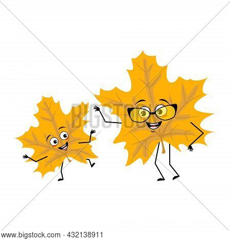 Maple Leaf Character With Joyful Emotions, Smile Face, Happy Eyes, Arms And Legs. Cheerful Forest Pl