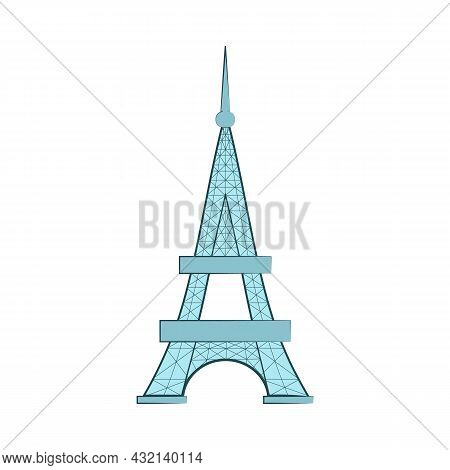 The Eiffel Tower Isolated On White Background. Vector Flat Illustration. Time To Travel. Paris