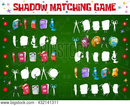 Shadow Match Game Worksheet With School Education Stationery And Books Characters. Kids Find Shadow