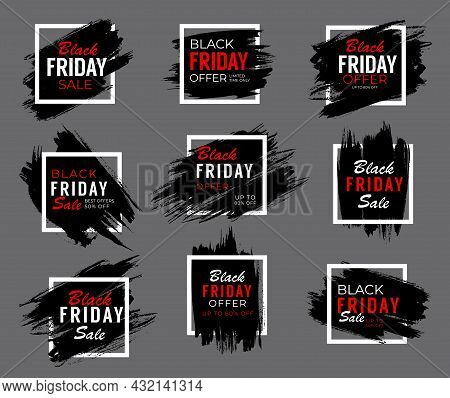 Black Friday Weekend Sale Banners, Shop Offer And Promo Labels, Vector. Black Friday Discount Tags A