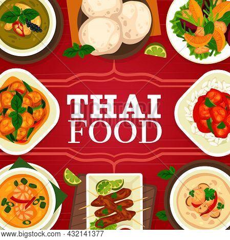 Thai Cuisine, Asian Food Restaurant Menu Cover, Thailand Lunch Dishes, Vector Poster. Thailand Food