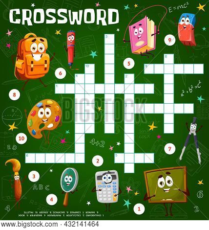 Crossword Puzzle Game Worksheet With Cartoon School Education Characters. Find Word Quiz Or Riddle,