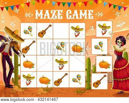 Sudoku Game With Dia De Los Muertos Holiday, Mexican Fiesta, Vector Background. Sudoku Puzzle Game W