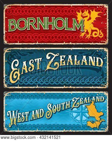 Bornholm, East, West And South Zealand Denmark Plates. Danish Island, Denmark Territories Vector Tin