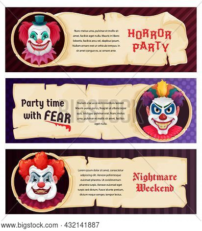 Horror Party Clown In Scary Mask Of Monster, Halloween Night Vector Banners. Nightmare Weekend Dead