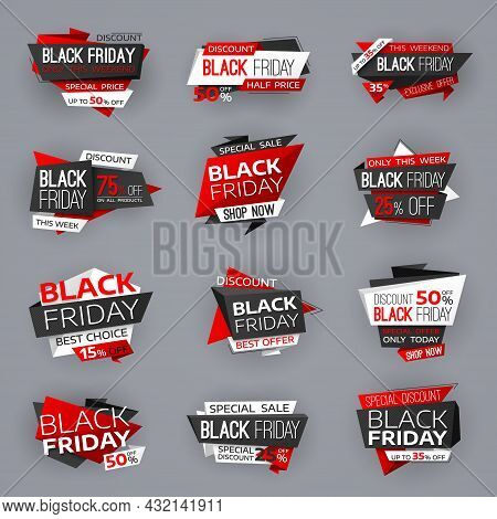 Black Friday Sale Banners, Tags And Offer Deals Of Shop, Vector Red Stickers. Black Friday Big Sale