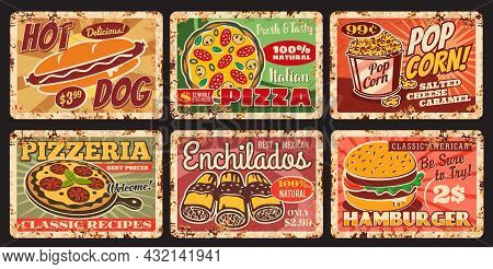 Fast And Street Food Vintage Rusty Plates. Street Restaurant Or Fast Food Cafe Meals Vector Tin Sign
