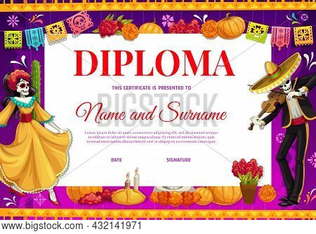Diploma With Cartoon Mexican Characters, Education Certificate, Vector Template. Kids School Diploma