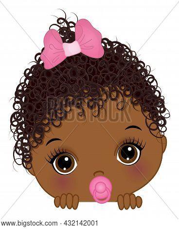 Cute Little African American Baby Girl Playing Peek A Boo. Black Girl Is Cute And Curly. Peekaboo Ba