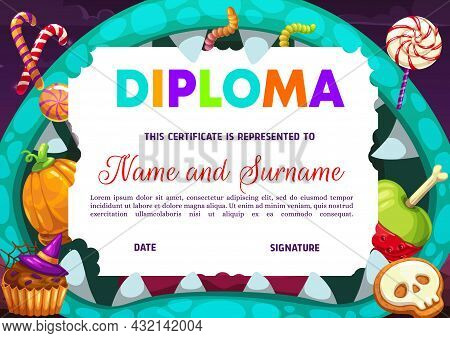 Kids Kindergarten Diploma With Halloween Treats. Candy Cane, Lollipop And Muffin, Apple, Cookies And
