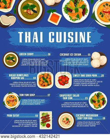 Thai Cuisine, Thailand Food Dishes And Meals, Vector Restaurant Lunch And Dinner Menu. Thai Traditio